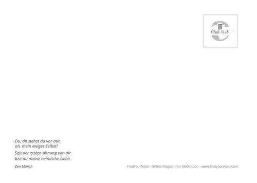 Meditative Grußkarte / Postkarte 'Zuhause, im Leben' – Rückseite