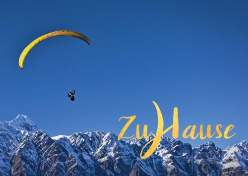 Meditative Grußkarte / Postkarte 'Zuhause, im Leben' – Fallschirm