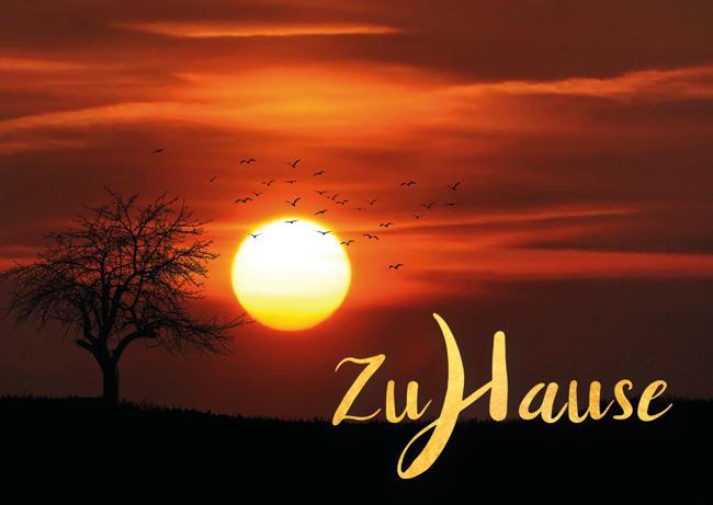 Meditative Grußkarte / Postkarte 'Zuhause, im Leben' – Sonnenuntergang