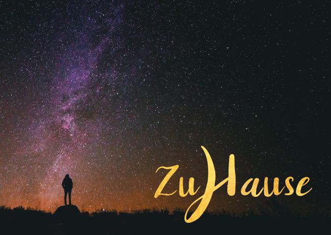 Meditative Grußkarte / Postkarte 'Zuhause, im Leben' – Universum