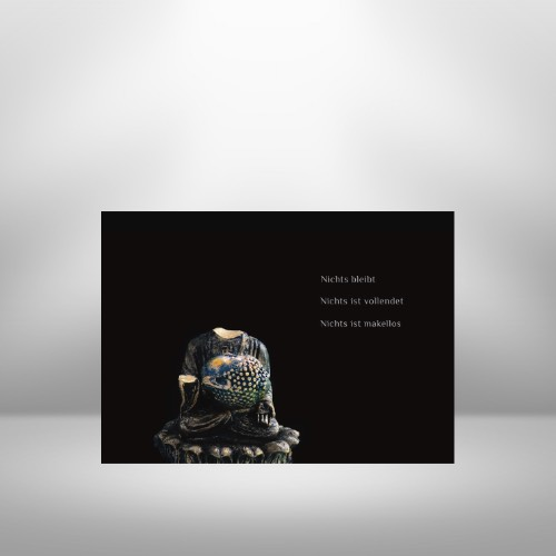 Buddha Postkarte Buddha mit Makel Wabi Sabi