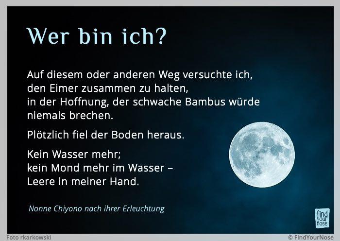 Bildzitat Chiyonos Gedicht-Koan: Kein Wasser, kein Mond